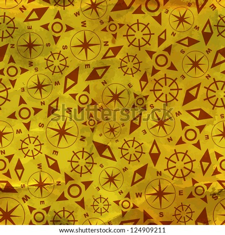 Compass. Abstract signs. Seamless pattern.