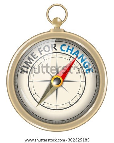 Compass and an arrow pointing to the word time for change - stock vector