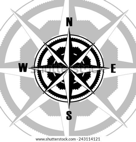 Compass black - stock vector