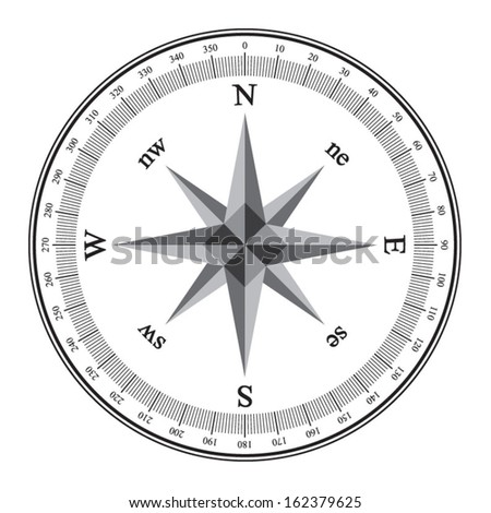 Compass, Black wind rose isolated on white - stock vector
