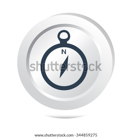 Compass button icon illustration - stock vector