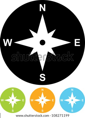 Compass directions - Vector icon isolated - stock vector