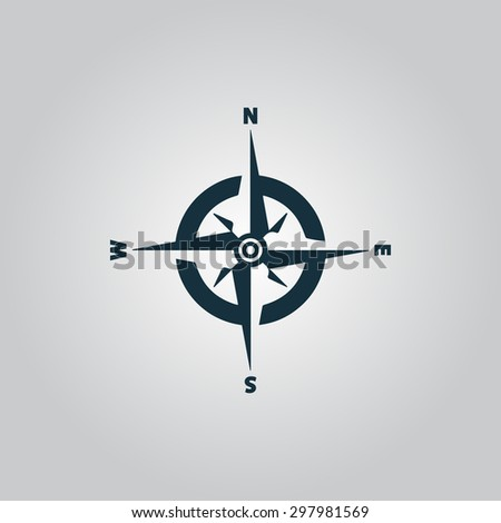 Compass. Flat web icon or sign isolated on grey background. Collection modern trend concept design style vector illustration symbol - stock vector