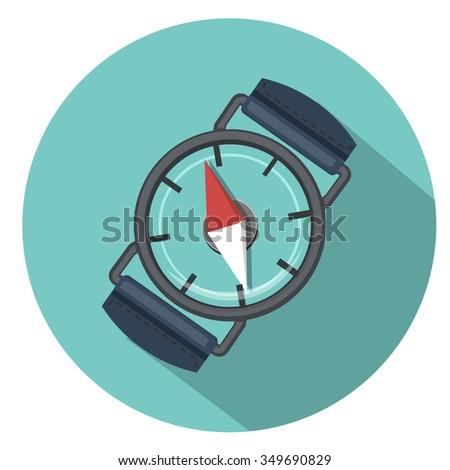compass icon - flat icon - stock vector