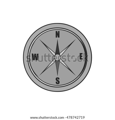 Compass icon in black monochrome style isolated on white background. Navigation symbol. Vector illustration
