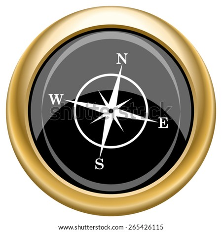 Compass icon. Internet button on white  background. EPS10 Vector.  - stock vector