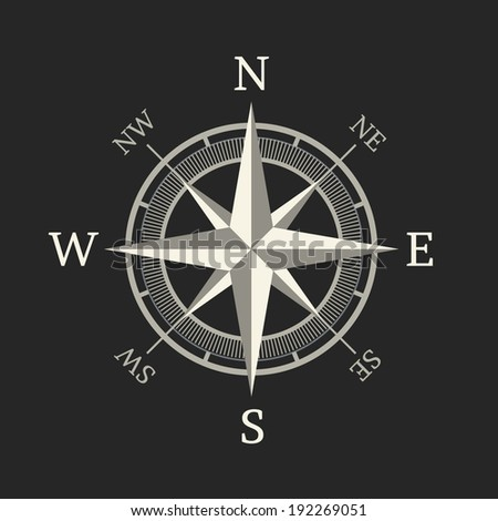 Compass icon isolated on dark background. Vector illustration - stock vector