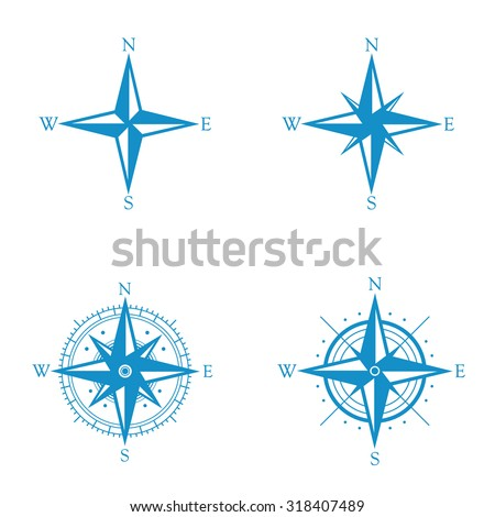 Compass icon rose set . Vector illustration - stock vector