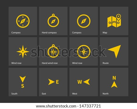 Compass icons on gray background. Vector illustration. - stock vector