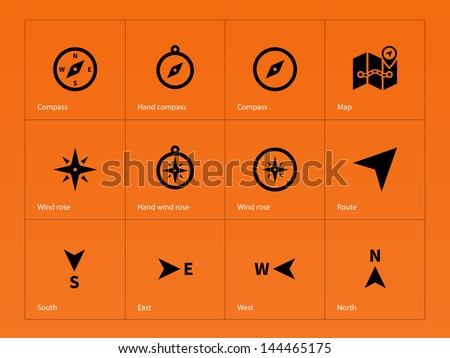 Compass icons on orange background. Vector illustration. - stock vector