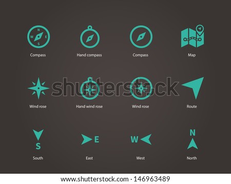 Compass icons. Vector illustration. - stock vector