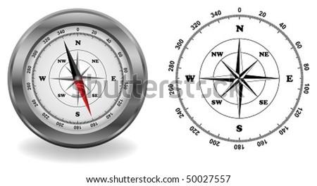 compass in vector - stock vector