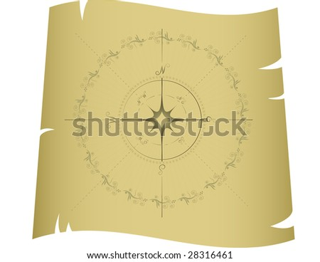 Compass, isolated on white, vector - stock vector