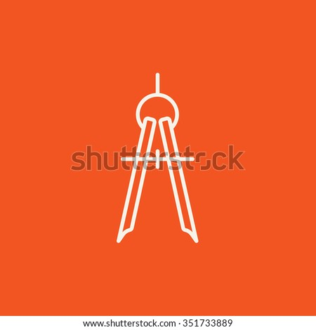 Compass line icon for web, mobile and infographics. Vector white icon isolated on red background. - stock vector