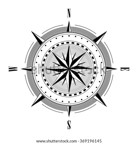 Compass navigation dial - highly detailed vector illustration - stock vector