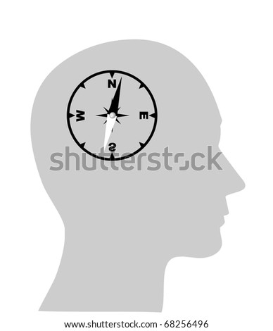 compass of the human mind, Isolated over background