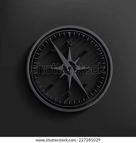 Compass on black background,clean vector - stock vector