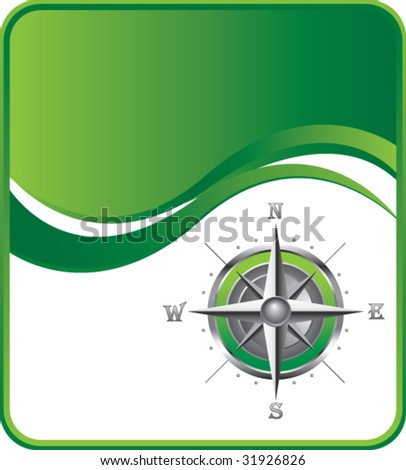 compass on green background - stock vector