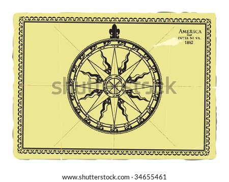 Compass on the old piece of paper. - stock vector