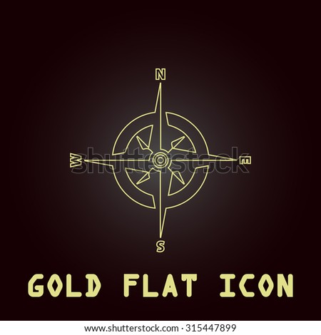 Compass. Outline gold flat pictogram on dark background with simple text.Vector Illustration trend icon - stock vector