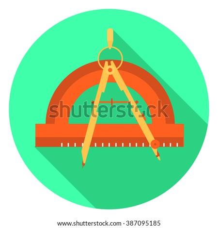 compass protractor icon - stock vector