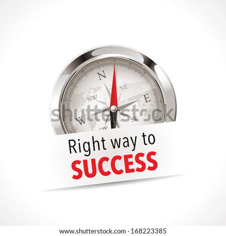 Compass - Right way - stock vector