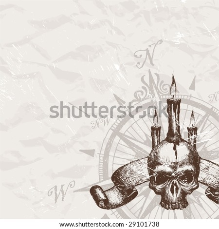Compass rose and piracy skull - stock vector