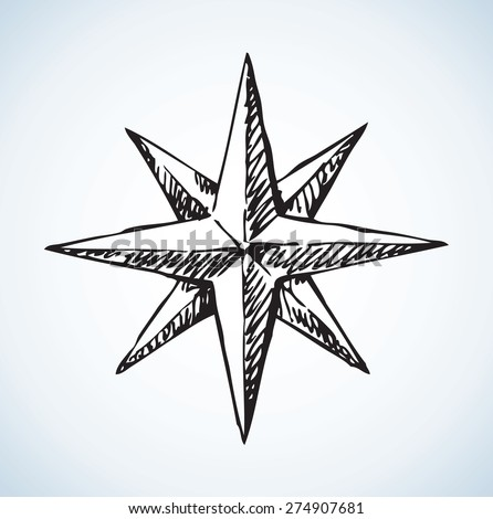 Compass rose Icon. Vector monochrome freehand ink drawn background sketchy in art scribble style pen on paper. View close-up with space for text - stock vector