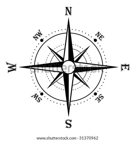Compass rose in black and white - stock vector