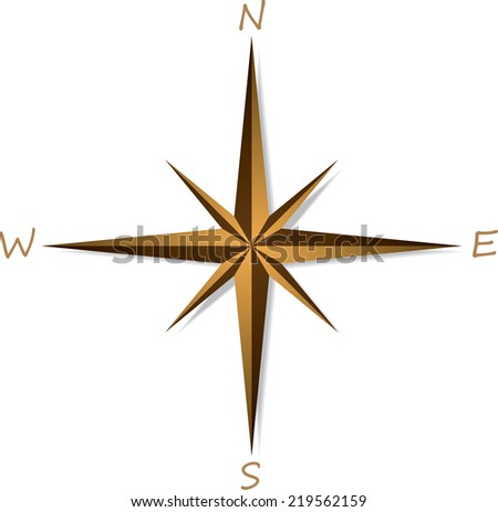 Compass rose on white background . Vector illustration