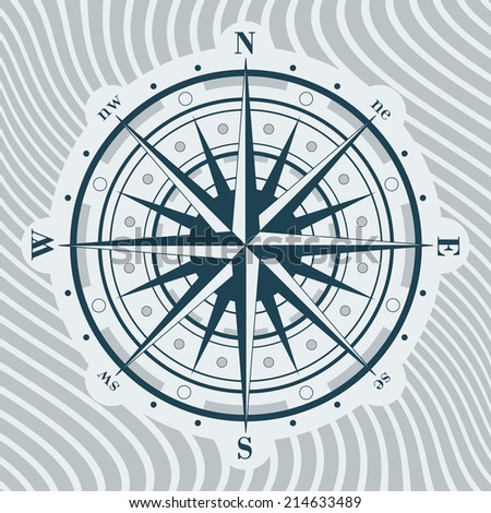 Compass rose over wavy background.  Vector illustration.