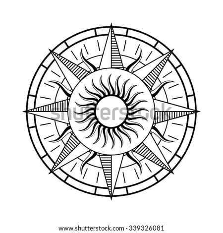 Compass rose symbol - stock vector