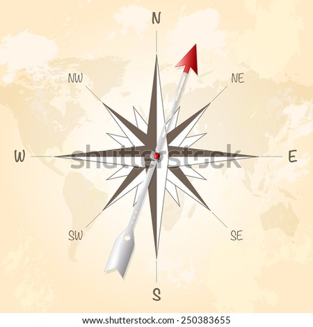 Compass rose with metal arrow on vintage grungy background. Vector illustration. - stock vector