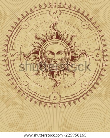 Compass rose with sun on grunge background. Eps8. CMYK. Organized by layers. Global colors. Gradients free. - stock vector