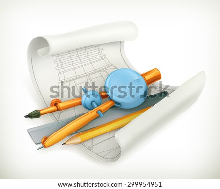 Compass ruler and pencil, technical drawing vector icon - stock vector