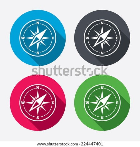Compass sign icon. Windrose navigation symbol. Circle buttons with long shadow. 4 icons set. Vector - stock vector