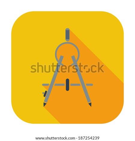 Compass. Single flat color icon. Vector illustration. - stock vector