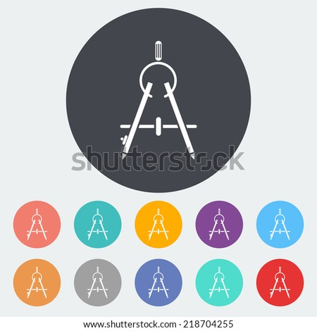 Compass. Single flat icon on the circle. Vector illustration. - stock vector