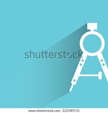 compass tools in blue background, flat and shadow design - stock vector
