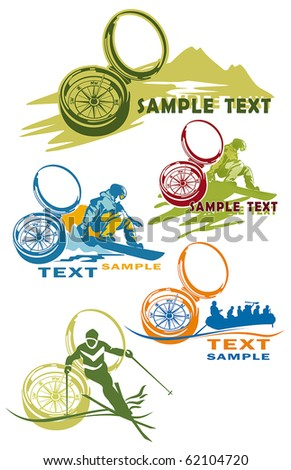 Compass vector Icons for Web. Construction or tourism concept. Abstract color element set of templates. Collection 1.