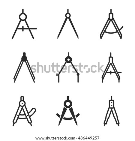 Compass Vector Icons Simple Illustration Set Of 9 Elements Editable Can