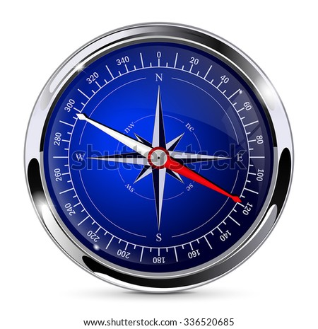 Compass. Vector illustration isolated on white background