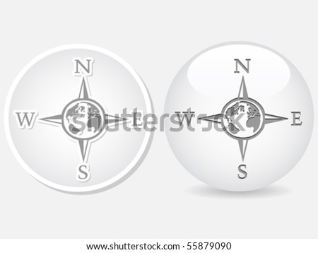 Compass white buttons - stock vector