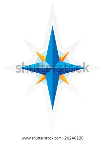 Compass wind-rose. Blue and orange star on white background. Vector illustration. - stock vector