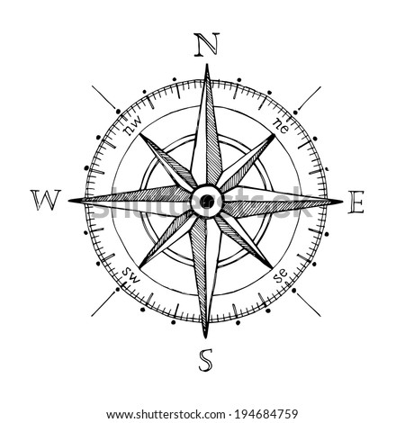 Compass wind rose hand drawn vector design element - stock vector