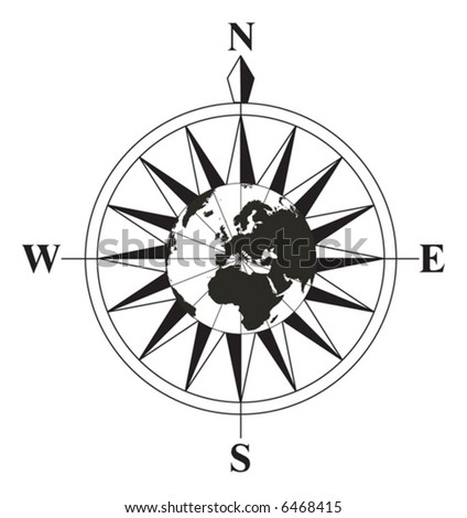Compass with a globe on the middle - stock vector