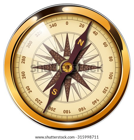 Compass with windrose isolated, retro vector design. - stock vector