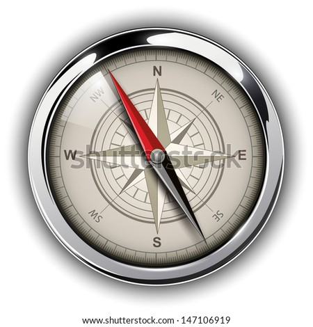 Compass with windrose. Vector Illustration. - stock vector