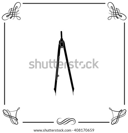 Compasses icon. Compasses vector. Simple icon isolated on white background with pattern. - stock vector