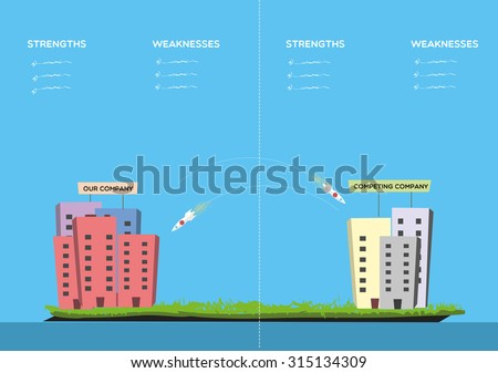 Competing - stock vector